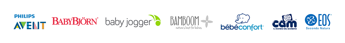 loghi avent, babyjogger, babybjorn, bamboom...